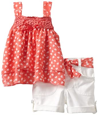 Little Lass Baby-girls Infant 2 Piece Short Set with Belt, Coral, 12 Months