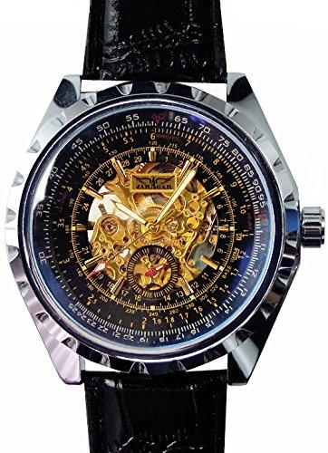 メンズ 新型3針 自動巻き 防水腕時計 オートマチッックウォッチ スチームパンク ブラックベルト[t216]
