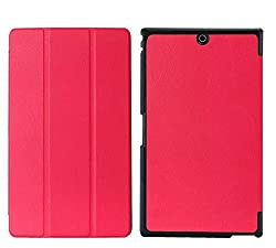 SPL Premium Quality PU Leather trifold Book Stand Cover for Sony Xperia Z3 Compact Tablet 8-inch -Red