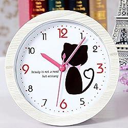 Alrens_DIY(TM) Lovely Kitty Cat Wood Pattern Silent Non-ticking Desk Wall Clocks Vintage Alarm Clocks Table Clock Desk Clock Watch Desktop (White)