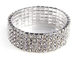 5 Rows Crystal Rhinestone Stretch Bracelet Fashion Jewelry Smaller as The Picture Shows