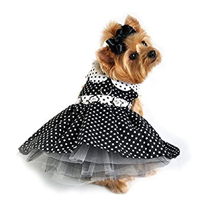 "Doggie Design Black White Polka Dot Daisy Party Harness Dress comes with matching Leash for small dogs in Size Small (Chest 13""-16"", Neck 10""-13"", pets weighing 6-10 Lbs.)"