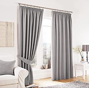 """Silver Lincoln Herringbone Tweed Thick Lined Pencil Pleat Curtains 90"""" X 90"""" by PCJ SUPPLIES"""