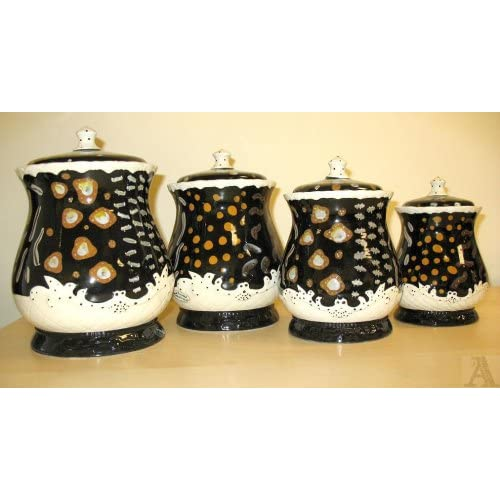 black abstract design kitchen canister set