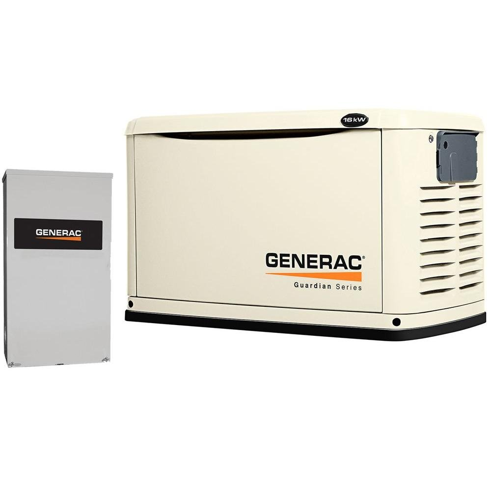 Generac 6462 Guardian Series, 16kW Air Cooled Standby Generator, Natural Gas/Liquid Propane Powered, Steel Enclosed, with 200-Amp Smart Automatic Transfer Switch