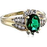 Created Emerald and Created White Sapphire Ring in 10k Yellow Gold