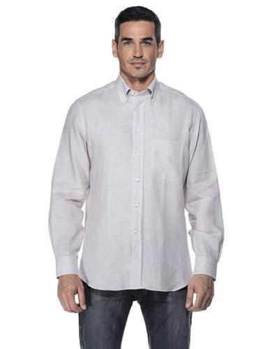 Camicissima Camisa Slim Fit Botton Down Lino Natural