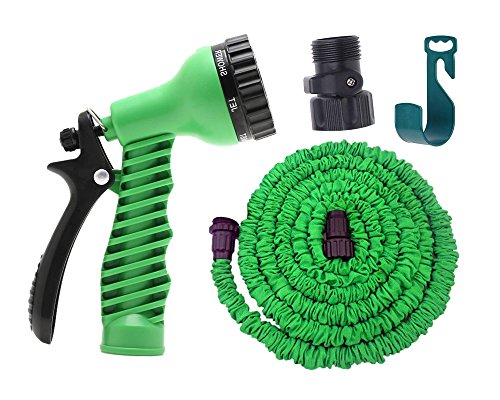 Expandable Garden Hose By Gardeniar 50ft Green , Strong , No Kink and Super Flexible -The Best Expanding Garden Hose for all your Watering Needs - Comes with a Free 7-setting Spray Nozzle , Additional Shut-off Valve and Free Hose Hanger