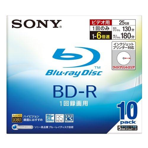 SONY ビデオ用BD-R 追記型 片面1層25GB 6倍速 プリンタブル 10枚P 10BNR1VBPS6
