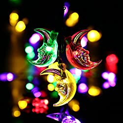 LuckLED 20ft 30 LED Moon Solar String Christmas Lights with...