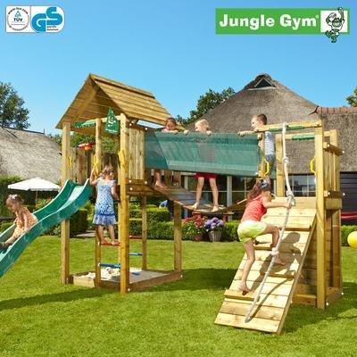 Jungle Gym Noahs CABIN – Spielturm Set mit Hängebrücke und Rutsche – Grün jetzt kaufen