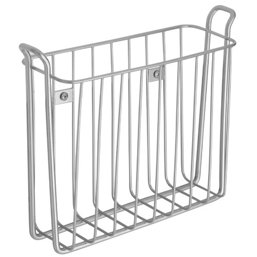 InterDesign Classico Wallmount Magazine Rack, Silver