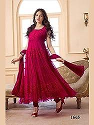 JJR Store Designer Red Net Embroidered Dress material