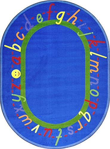 "Learning Lowercase Letters A-Z Premium Cut Pile Stainmaster Nylon Area Rug (Oval 10'9""X13'2"", Blue) front-1004217"