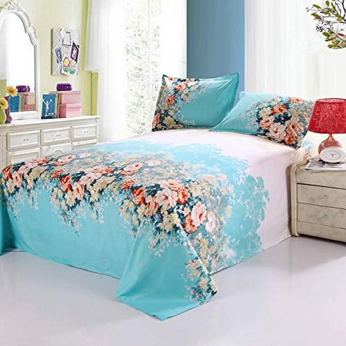 100% Cotton 3-Piece Blue Flowers Printed Duvet Covers Sets for Girls (1 Duvet Cover+1 Bed Sheet + 2 Pillowcases) Full 2