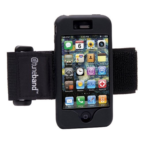Tuneband for iPhone 4 and iPhone 4S, Grantwood Technology's Armband, Silicone Skin, and Front and Back Screen Protector, Black
