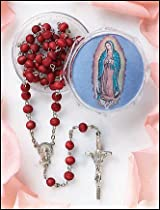 Our Lady of Guadalupe Rose Scented Rosary in Case