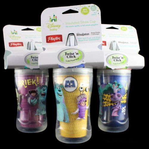 Monsters Inc Insulated Straw Cup - 9 Oz. Twist And Click Leak Proof By Playtex (2-Pack) (Blue And Pink) front-502120