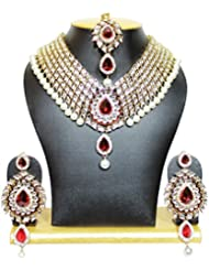 Kundan Studded Heavy Necklace Set In Maroon Color With Pearls By Shining Diva