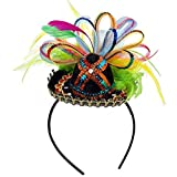 Amscan Cinco De Mayo Fiesta Party Sequins Sombrero Headband with Feather (1 Piece), Multi Color, 2.5 x 5.5