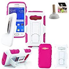 buy Customerfirst - Defender Shell Holster Combo Case For Samsung Galaxy Ace 4 Lite G313Ml, Protective Skin Case Cover With Advanced Armor Impact Hybrid Soft Silicone Cover Hard Snap On Plastic Case Kick Stand With Belt Clip Holster - Includes Plunger Stand (