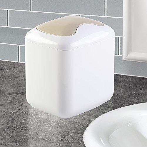 Countertop Garbage Can : InterDesign Una Vanity Countertop Wastebasket Trash Can, White/Satin ...