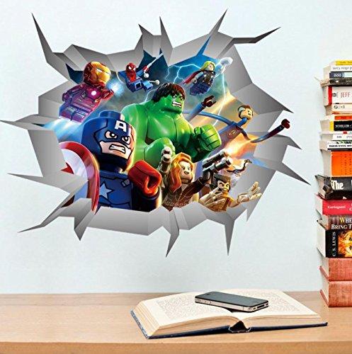 Marvel Avengers Whole Room Decal Decor Set Iron Man Hulk Captain America Thor (Lego Break Through Wall)