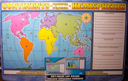 Canada, Continents, Hemispheres Dryer Erase Lap Board, The Board Dudes, English & French