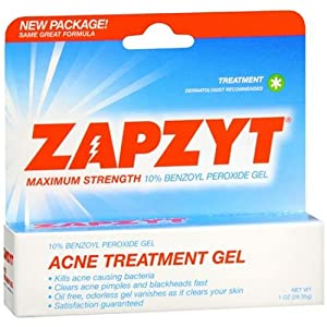 ZAPZYT Maximum Strength 10% Benzoyl Peroxide Acne Treatment Gel 1 oz (28.35 g)