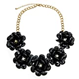 Large Black Flowers and Clear Crystal Statement Necklace