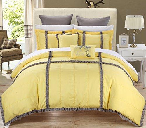 Epic 11 Piece Bedding Comforter Set Queen Size Yellow Shams
