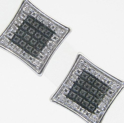 Mens 925 Sterling Silver earrings fancy stud hoops huggie ball fashion dangle black and white square pave earrings3