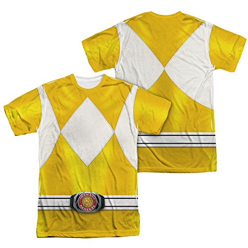 Power Rangers Childrens Live Action TV Series Yellow Costume Adult 2Side Print T
