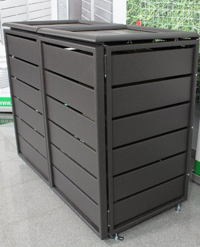 m lltonnenbox f r zwei 120 liter m lltonnen modell ecoplus farbton dunkelgrau mit r ckwand. Black Bedroom Furniture Sets. Home Design Ideas