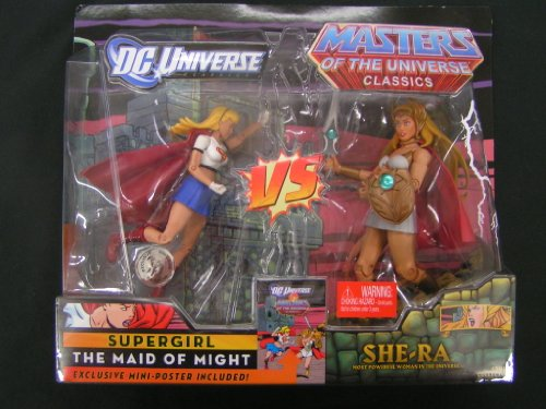 Picture of Mattel 2011 San Diego Comic Con, ComiCon International (SDCC 2011) Exclusive DC Universe Vs Masters of the Universe: Supergirl Vs She-Ra Figures with Mini Poster Included (B005FXE7RY) (Mattel Action Figures)