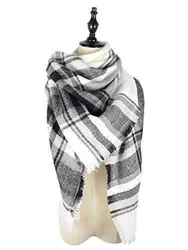 Zando Soft Warm Tartan Plaid Scarf Shawl Cape Blanket Scarves Fashion Wrap White Gray Black (British Army Clothes compare prices)