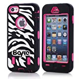 Apple Iphone 5c Fashion Camo Zebra Combo Print & Aztec Tribal Print Hybrid Armorbox Defender Case Protection Impact Bumper Dual Layer Heavy Duty Case Pc&rubber Silicone Material with Hard Holster (Not Fit Iphone 5 & 5s / Bayke Brand / Screen Protector Not Include) (Zebra Combo Print / Bayke Brand) (Hot Pink)