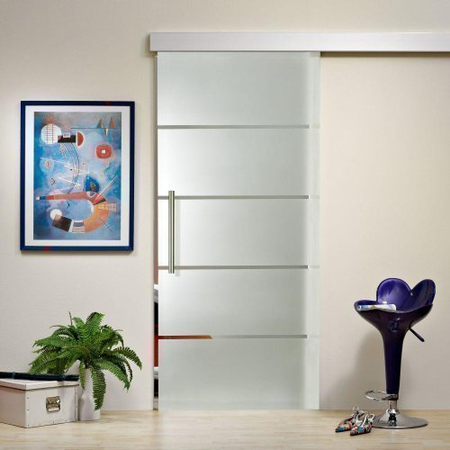 glastueren24.de Glasschiebetür ST 816 - 775 x 2050 x 8mm DIN Rechts, 8mm Sicherheitsglas mit Siebdruckdekor, Griffstange und Schiebesystem