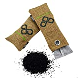 All Natural Bamboo Charcoal Bag 372g Moisture Absorber Air Freshener and Closet Deodorizer Best for Home Bathroom Refrigerator Luggage Car - Shoe Odor Absorber - Pet Odors Eliminator & Remover (Pack of 4 Bags)