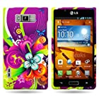 CoverON® PURPLE Hard Cover Case with FLORAL MEDLEY Design for LG US730 AS730 SPLENDOR / VENICE / OPTIMUS SHOWTIME L86c / OPTIMUS ULTIMATE With PRY- Triangle Case Removal Tool [WCA266]