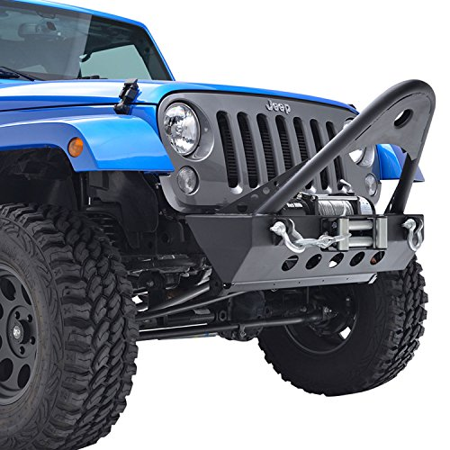 E-Autogrilles-07-16-Jeep-Wrangler-JK-Textured-Black-Rock-Crawler-Stinger-Front-Bumper-with-D-Ring-Winch-Plate-51-0304