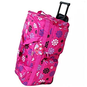 Large 27 Inch Wheeled Holdall Bag (Daisy Pink)