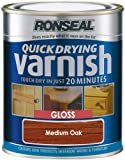 Ronseal QDVGMO750 750ml Medium Quick Dry Varnish Coloured Gloss Oak