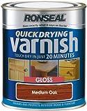 Ronseal QDVGMO750 750ml Medium Quick Dry Varnish Coloured Gloss Oak