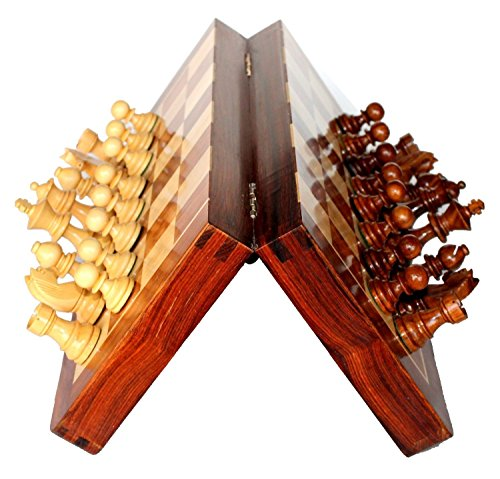 Premium 10 x 10 Inch Chess Set - Best Handmade Wooden Rosewood 10x10 Inch Foldable Magnetic Chess Game Board with Storage Slots. 100% Satisfaction Guarantee (Portable Chess Board compare prices)