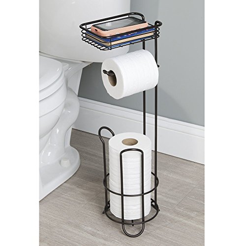Mdesign Free Standing Toilet Paper Holder With Shelf For Bathroom Matte Black Home Garden