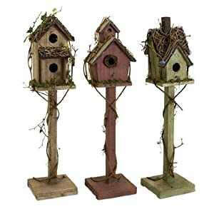 3 Country Rustic Pedastal Style Wooden Birdhouses with Grapevine Accents - 26""