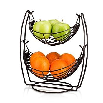 Saganizer 2 Tier Fruit Baskets Bronze fruit basket