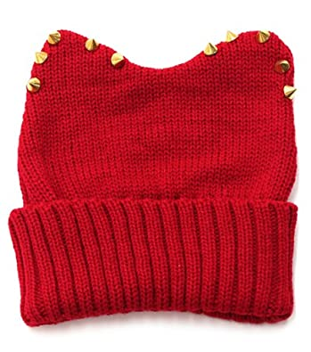 Knitted Beanie Hat Bunny/Cat ears & Spike trim Super Cute! RED or BLK