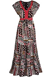 Women's Tribal Block Print Short Sleeve Maxi Dress
